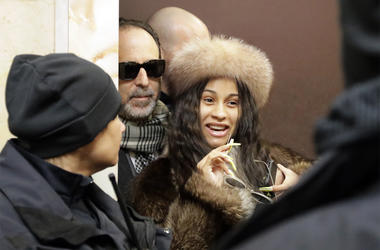 Cardi B leaves Queens County Criminal Court, Thursday, Jan. 31, 2019, in New York. The rapper made an appearance in connection with a melee she was involved in at a New York strip club. (AP Photo/Frank Franklin II)
