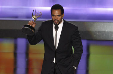 """In this June 20, 2008, file photo Kristoff St. John accepts the award for outstanding supporting actor in a drama series for his work on """"The Young and the Restless"""" at the 35th Annual Daytime Emmy Awards in Los Angeles. The """"Young and the Restless"""" is re"""