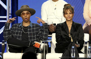"""Lena Waithe, left, and Halle Berry participate in the """"Boomerang"""" panel during the BET presentation at the Television Critics Association Winter Press Tour at The Langham Huntington on Monday, Feb. 11, 2019, in Pasadena, Calif. (Photo by Willy Sanjuan/Inv"""