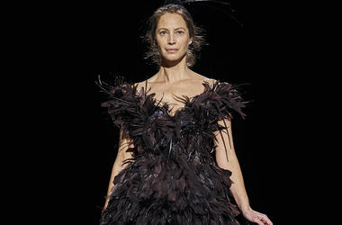 Christy Turlington Burns walks the runway in Marc Jacobs collection during Fashion Week in New York, Wednesday, Feb. 13, 2019. (AP Photo/Andres Kudacki)