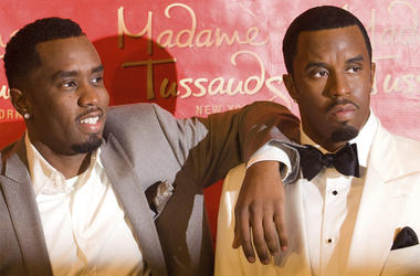 """In this Dec. 15, 2009 file photo, Sean """"Diddy"""" Combs unveils his wax figure at Madame Tussauds in New York. Police say someone attacked the statue of Combs at the wax museum, Saturday, Feb. 16, 2019, shoving the rap impresario's likeness so forcefully it"""