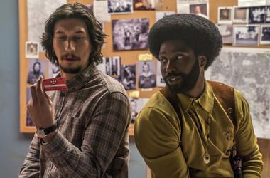 """This image released by Focus Features shows Adam Driver, left, and John David Washington in a scene from """"BlacKkKlansman."""" The film is nominated for an Oscar for best picture. The 91st Academy Awards will be held on Sunday. (David Lee/Focus Features via A"""