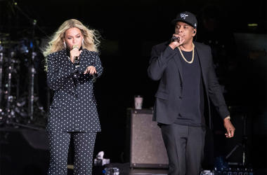 In this Nov. 4, 2016 file photo, Beyonce and Jay-Z perform during a Democratic presidential candidate Hillary Clinton campaign rally in Cleveland. (AP Photo/Matt Rourke, File)