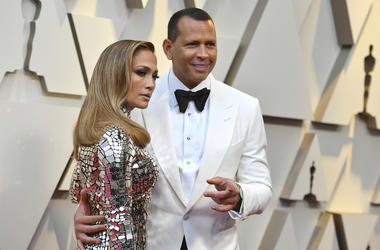 In this Feb. 24, 2019 file photo, Jennifer Lopez, left, and Alex Rodriguez arrive at the Oscars at the Dolby Theatre in Los Angeles. (Photo by Jordan Strauss/Invision/AP, File)