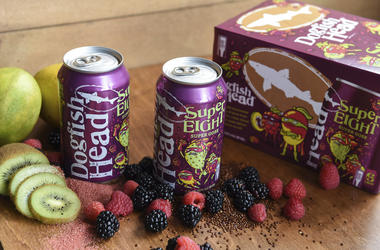In this undated photo provided by Dogfish Head Craft Brewery, cans of Dogfish's SuperEight beer are displayed on a table in Milton, Del. (Dogfish Head Craft Brewery via AP)
