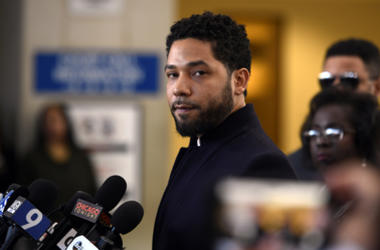 Actor Jussie Smollett talks to the media before leaving Cook County Court after his charges were dropped, Tuesday, March 26, 2019, in Chicago. (AP Photo/Paul Beaty)