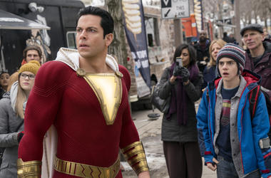 "This image released by Warner Bros. shows Zachary Levi, left, and Jack Dylan Grazer in a scene from ""Shazam!"" (Steve Wilkie/Warner Bros. Entertainment via AP)"