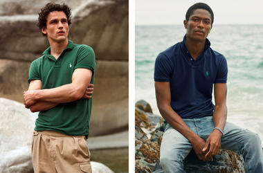 This combination of photos released by Ralph Lauren shows Polo shirts made from recycled plastic bottles. (Ralph Lauren via AP)