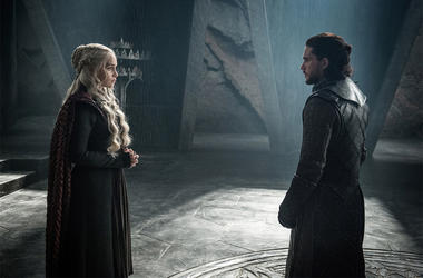 """This photo provided by HBO shows Emilia Clarke as Daenerys Targaryen and Kit Harington as Jon Snow in a scene from HBO's """"Game of Thrones."""" The final season premiered on Sunday. (Helen Sloan/Courtesy of HBO via AP)"""