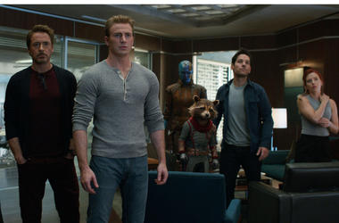 "This image released by Disney shows, from left, Jeremy Renner, Don Cheadle, Robert Downey Jr., Chris Evans, Karen Gillan, the character Rocket, voiced by Bradley Cooper, Paul Rudd and Scarlett Johansson in a scene from ""Avengers: Endgame."" (Disney/Marvel"
