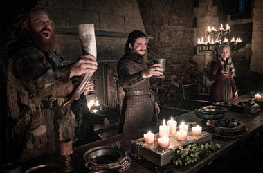 "This image released by HBO shows Kristofer Hivju, from left, Kit Harington and Emilia Clarke in a scene from ""Game of Thrones."" (Helen Sloan/HBO via AP)"