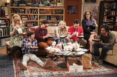 "This photo provided by CBS shows Melissa Rauch, from left, Simon Helberg, Johnny Galecki, Kaley Cuoco, Jim Parsons, Mayim Bialik and Kunal Nayyar in a scene from the series finale of ""The Big Bang Theory,"" Thursday, May 16, 2019, airing 8:30 - 9:00 p.m.,"
