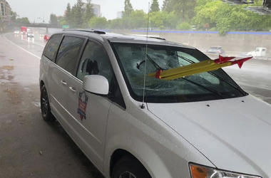 In this Thursday, May 16, 2019, photo released by El Dorado Veterans Resources Transportation/Military Family Support Group (MFSG) shows a stolen tripod from a California Department of Transportation crew, that was dropped from an overpass onto a Sacramen