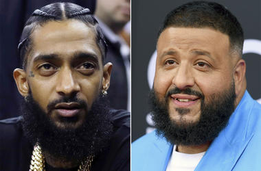 This combination photo shows rapper Nipsey Hussle at an NBA basketball game between the Golden State Warriors and the Milwaukee Bucks in Oakland, Calif. on March 29, 2018, left, and DJ Khaled at the Billboard Music Awards in Las Vegas on May 20, 2018. (AP