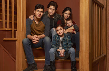 """This image released by Freeform shows the cast of """"Party of Five,"""" Niko Guardado as Beto Buendia, left, Brandon Larracuente as Emilio Buendia, Elle Paris Legaspi as Valentina Buendia, foreground right, and Emily Tosta as Lucia Buendia."""