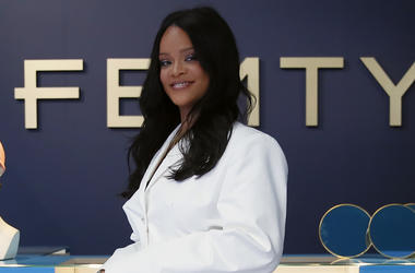 Rihanna poses as she unveils her first fashion designs for Fenty at a pop-up store in Paris, France, Wednesday, May 22. (AP Photo/Francois Mori)