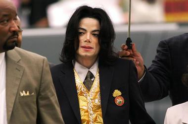 In this May 25, 2005 file photo, Michael Jackson arrives at the Santa Barbara County Courthouse for his trial in Santa Maria, California. (Aaron Lambert/Santa Maria Times via AP, Pool)