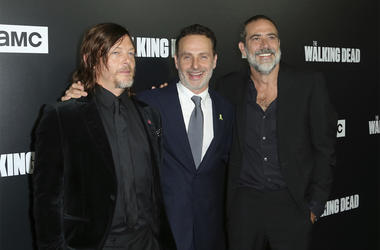 """In this Sept. 27, 2018 file photo, from left to right, Norman Reedus, Andrew Lincoln and Jeffrey Dean Morgan arrive at the LA Premiere of Season 9 of their show """"The Walking Dead"""" in Los Angeles. (Willy Sanjuan/Invision/AP, File)"""