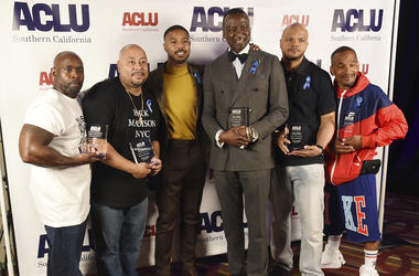 Presenter Michael B. Jordan, third from left, poses with, from left, honorees Antron McCray, Raymond Santana, Yusef Salaam, Kevin Richardson and Korey Wise at the ACLU SoCal's 25th Annual Luncheon at the JW Marriott at LA Live, Friday, June 7, 2019, in Lo