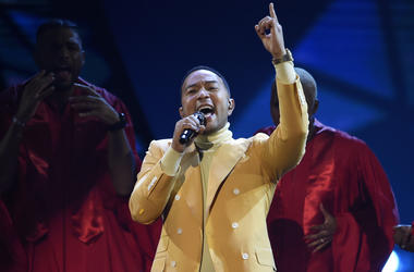 "In this March 14, 2019, file photo, John Legend performs ""Preach"" at the iHeartRadio Music Awards at the Microsoft Theater in Los Angeles. (Chris Pizzello/Invision/AP, File)"