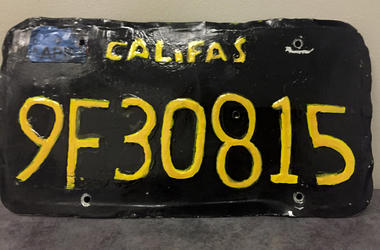 This undated photo provided by the Ventura County Sheriff's Department shows a phony license plate that was spotted by a motorcycle officer on a tractor-trailer in Moorpark, California, northwest of Los Angeles. (Ventura County Sheriff's Department via AP