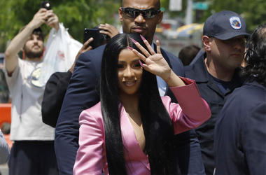 This May 31, 2019 file photo shows Cardi B arriving at Queens Criminal Court, in New York. (AP Photo/Mark Lennihan, FIle)