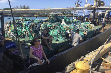 In this photo taken June 18, 2019, provided by the Ocean Voyages Institute, are nets brought in by the sailing ship Kwai from the Pacific gyre cleanup in Honolulu. (AJ Jaeger/Ocean Voyages Institute via AP)