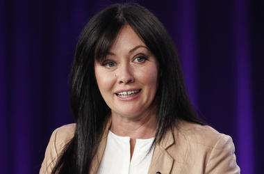 """In this Jan. 14, 2012, file photo, Shannen Doherty participates in a panel for the television show """"Shannen Says"""" on WE tv during the AMC Networks portion of the Television Critics Association Winter Press Tour in Pasadena, California. (AP Photo/Danny Mol"""
