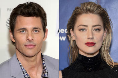 """This combination photo shows actor James Marsden at a screening of """"Westworld"""" during the 2018 Tribeca Film Festival in New York on April 19, 2018, left, and actress Amber Heard at the Planned Parenthood of New York City spring gala benefit in New York on"""
