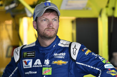 In this Saturday, June 3, 2017 file photo, Dale Earnhardt Jr. looks on in the garage during practice for the NASCAR Cup series auto race at Dover International Speedway in Dover, Del. (AP Photo/Nick Wass, File)