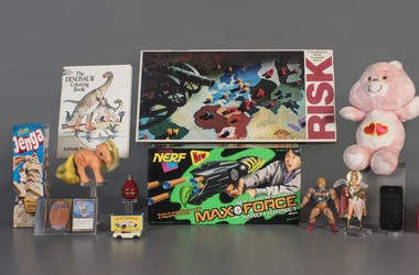 In this Aug. 13, 2019 photo provided by the National Toy Hall of Fame are the 2019 finalists, from left to right, Jenga, Magic the Gathering, My Little Pony, Coloring Book, Matchbox Cars, Top, Nerf Blaster, Risk, Masters of the Universe, Care Bears, Smart