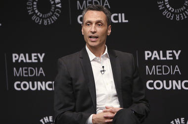 In this photo provided by Starpix, James Pitaro speaks at the Paley Center for Media in New York, Thursday, Sept. 12, 2019. (Patrick Huban/Starpix via AP)