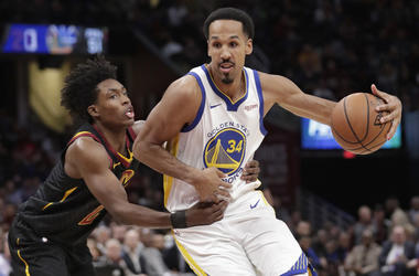 In this Dec. 5, 2018, file photo, Golden State Warriors' Shaun Livingston (34) drives past Cleveland Cavaliers' Collin Sexton (2) in the second half of an NBA basketball game in Cleveland. (AP Photo/Tony Dejak, File)