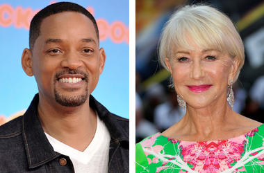 "This combination photo shows Will Smith at the Nickelodeon Kids' Choice Awards in Los Angeles on March 23, 2019, left, and Helen Mirren at a special screening of ""Fast & Furious: Hobbs & Shaw,"" in London on July 23, 2019. (AP Photo)"