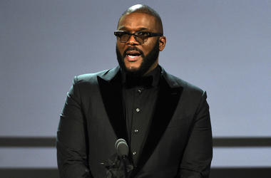 This June 23, 2019 file photo shows Tyler Perry accepting the ultimate icon award at the BET Awards in Los Angeles. (Photo by Chris Pizzello/Invision/AP, File)