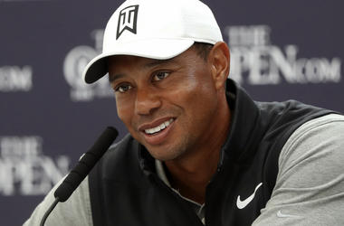 In this July 16, 2019, file photo, Tiger Woods speaks at a press conference ahead of the start of the British Open golf championships at Royal Portrush in Northern Ireland. (AP Photo/Matt Dunham, File)