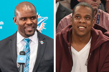 Miami Dolphin's Coach Brian Flores and rapper/music mogul Jay-Z (Photo credit: Mark Brown/Theo Wargo/Getty Images)