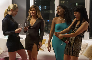 Lili Reinhart, Jennifer Lopez, Keke Palmer, and Constance Wu star in 'Hustlers' Motion Picture Artwork © 2019 STX Financing, LLC. All Rights Reserved.