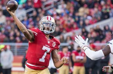 Colin Kaepernick throws a pass for the San Francisco 49ers