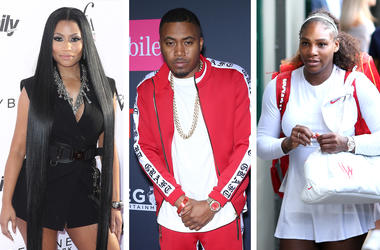 Nicki Minaj, Nas and Serena Williams (Photo credits: MJT/AdMedia//Scott Kirkland/PictureGroup/PA Images/Sipa USA)