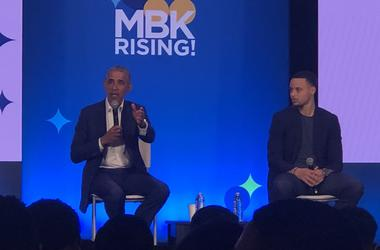 Former President Barack Obama and Golden State Warriors guard Stephen Curry (Photo credit: Carrie Hodousek/KCBS Radio)
