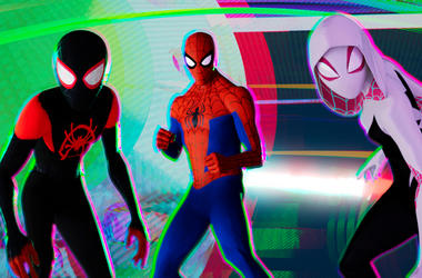 "SPIDER-MAN: Into The Spider-Verse"" - SpiderVerse_bac348.1059_lm_v1 - Miles Morales (Shameik Moore), Peter Parker (Jake Johnson) and Spider-Gwen (Hailee Steinfeld) in Columbia Pictures and Sony Pictures Animations' SPIDER-MAN: INTO THE SPIDER-VERSE."