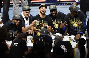 The Golden State Warriors celebrate