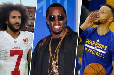 """Colin Kaepernick, Sean """"Diddy"""" Combs and Stephen Curry"""