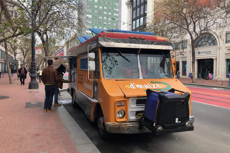 d'maize Food Truck on San Francisco's Market Street (Photo credit: Carrie Hodousek/KCBS Radio)