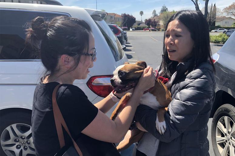 Diamond is reunited with Vanny Nguyen (Photo credit: Jennifer Hodges/KCBS Radio)