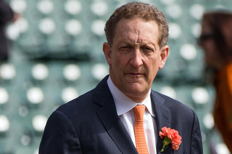 Apr 10, 2017; San Francisco, CA, USA; San Francisco Giants CEO Larry Baer watches the preparations before the game against the Arizona Diamondbacks at AT&T Park. Mandatory Credit: John Hefti-USA TODAY Sports