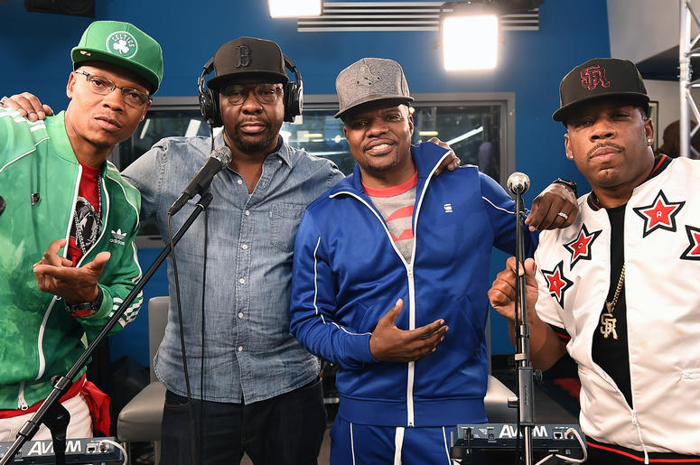 NEW YORK, NY - AUGUST 21: (L-R) Ronnie DeVoe, Bobby Brown, Ricky Bell and Michael Bivins of RBRM Perform on SiriusXM's Heart & Soul Channel At The SiriusXM Studios in New York City at SiriusXM Studios on August 21, 2018 in New York City. (Photo by Ilya S.
