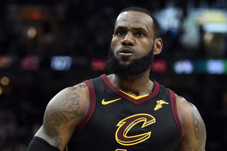 May 25, 2018; Cleveland, OH, USA; Cleveland Cavaliers forward LeBron James (23) reacts after a play against the Boston Celtics during the fourth quarter in game six of the Eastern conference finals of the 2018 NBA Playoffs at Quicken Loans Arena.