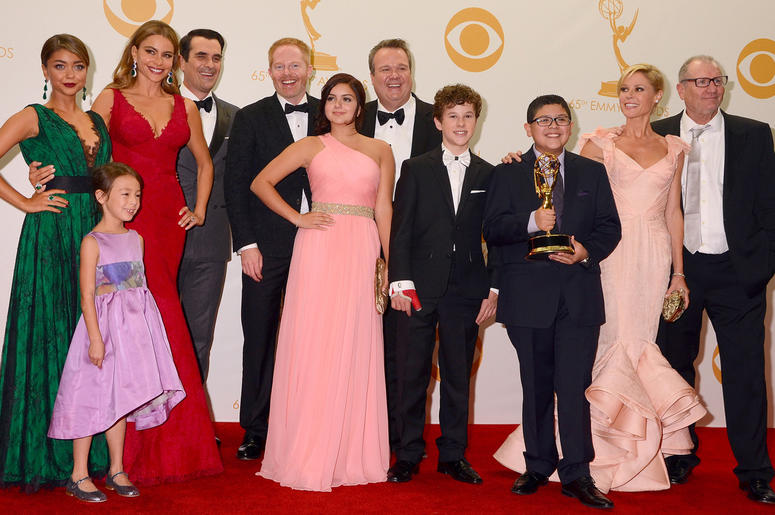 "22 September 2013 - Los Angeles, California - Cast of ""Modern Family"". 65th Annual Primetime Emmy Awards - Press Room held at Nokia Theatre L.A. Live. Photo Credit: Birdie Thompson/AdMedia/Sipa USA"